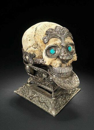 A silver-mounted ceremonial Skull Bowl (kapala mandala) - Tibet or Nepal, 19th Century