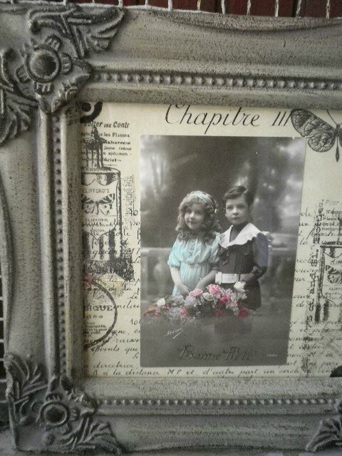 ancienne carte postale cadre en bois patine cote scrapbooking antique scrap art d co. Black Bedroom Furniture Sets. Home Design Ideas