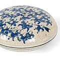A blue and white crackle glaze 'hundred boys' box, kangxi mark and of the period