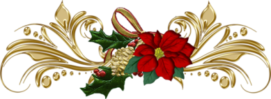 Gif barre fleur poinsettia et feuilles volutes or 389 pixels