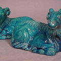 Pair of 早清 early 19th c turquoise recumbent rams