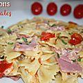 Papillons aux tomates et jambon (cookeo)