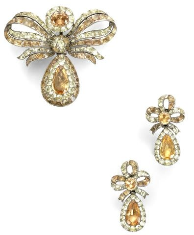 An 18th century topaz and chrysoberyl pendeloque pendant and pair of earrings, Portuguese
