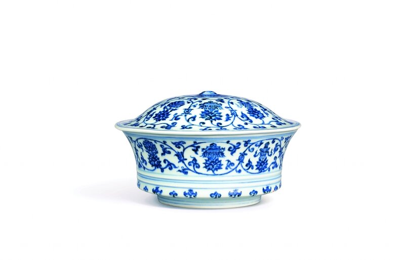 An_Extremely_Fine_And_Rare_Blue_And_White_Bajixiang_Bowl_And_Cover