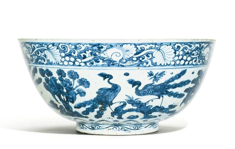 A large blue and white 'Peacock' bowl, Ming dynasty, 16th century