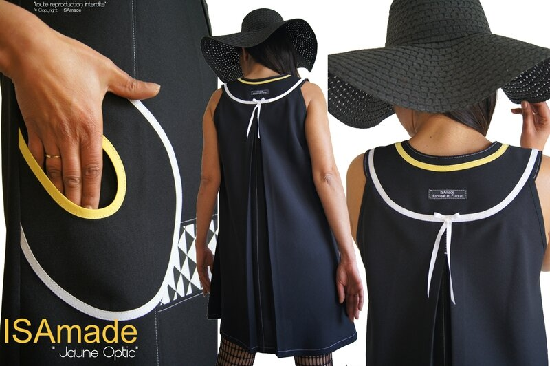 MOD 392B Robe Trapèze créateur originale bicolore noir Blanc jaune made in France Graphique motif imprimé Triangle Printemps 2016