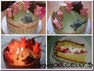 Gâteau 3 petits cochons
