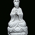 A Blanc de Chine porcelain Guanyin, China, Qing Dynasty, 19th century