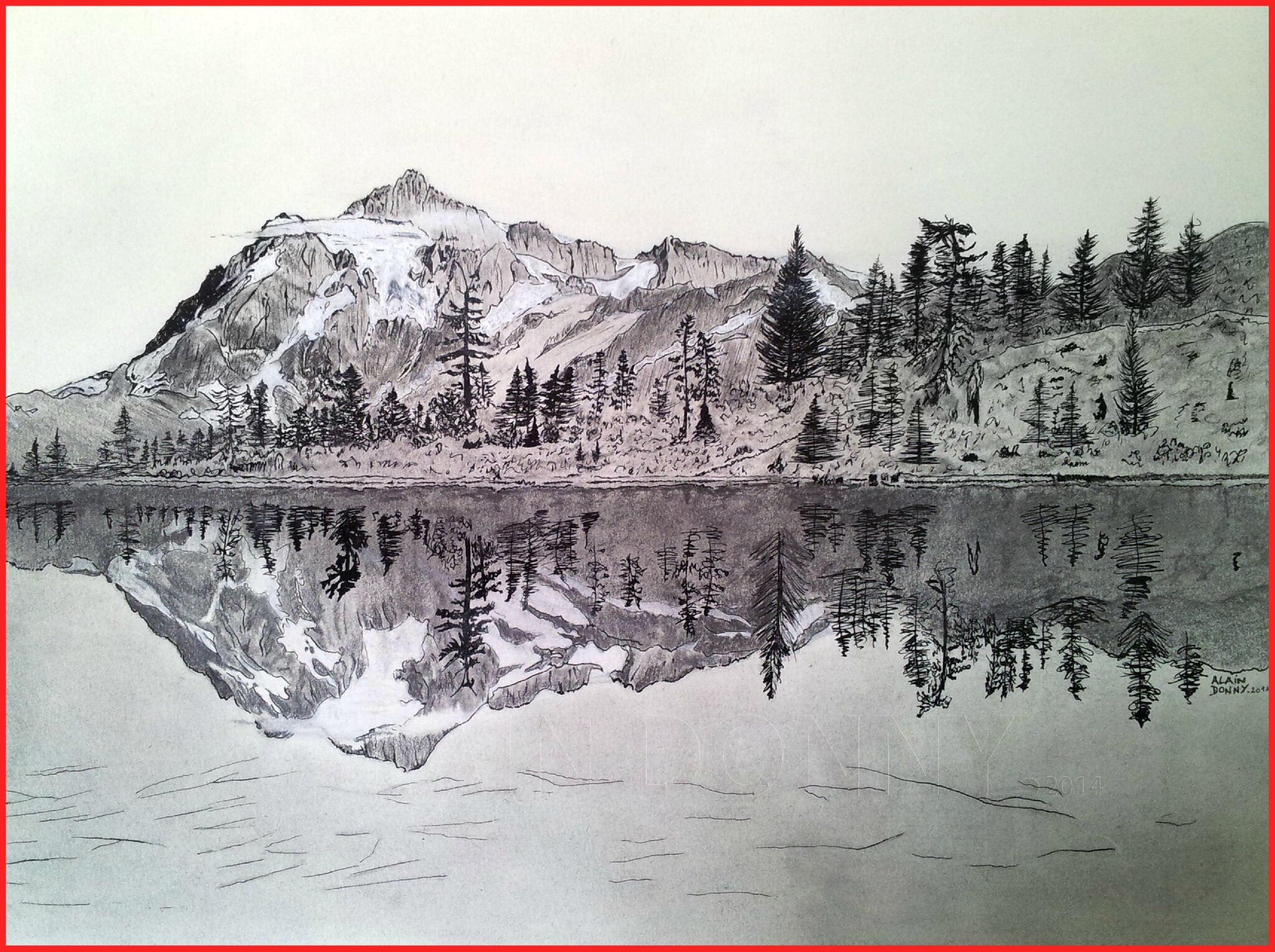 paysage montagne et lac 2014 mes p 39 tits dessins le blog d 39 alain. Black Bedroom Furniture Sets. Home Design Ideas