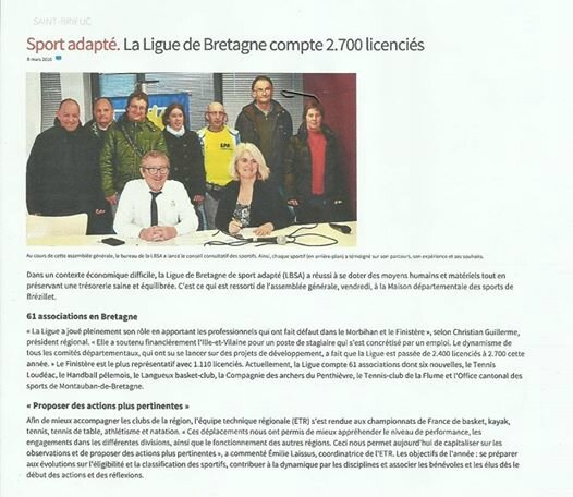 Ligue bretagne sport adapt assembl e g n rale ploufragan 4 mars 2016 revue de presse - Ligue bretagne tennis de table ...