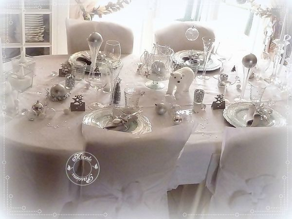 Ma table de no l stella polaire argent et blanc nicole passions - Decoration de table de noel blanche ...