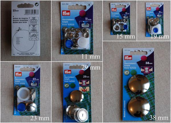 boutons à recouvrir avec outil