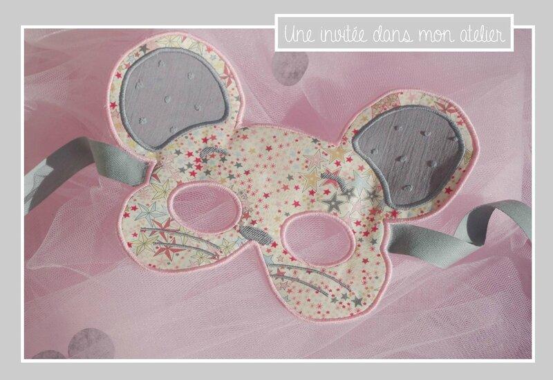 masque de souris-Liberty adelajda pink and gold