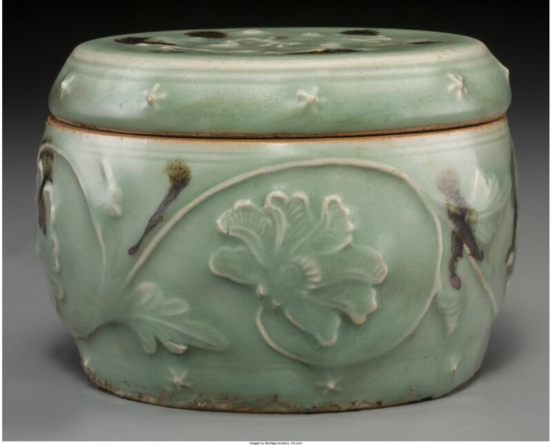 A Chinese Tobi Seiji Decorated Longquan Celadon Jar, Yuan Dynasty, 14th century
