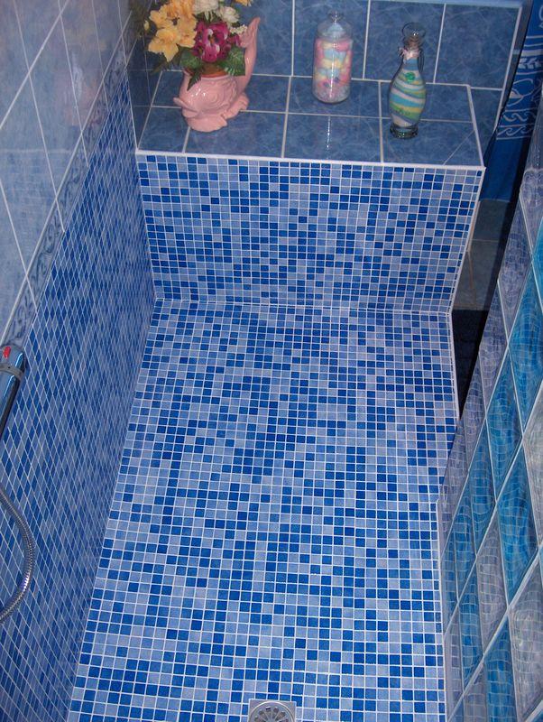 Douche mosa que et pav s de verre 7 photo de salles de for Mosaique argente salle de bain