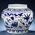 A magnificent and large blue and white 'boys' jar, guan. Jiajing six-character mark and of the period