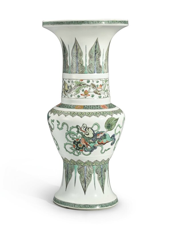 A famille-verte 'Buddhist Lion' vase, Qing dynasty, Kangxi period (1662-1722)