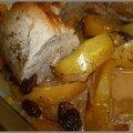 Filet mignon de porc aux pommes raisins secs et cidre