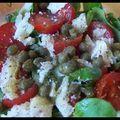 Monomanie - petite salade de mâche aux tomates cerise, copeaux de parmesan et câpres.