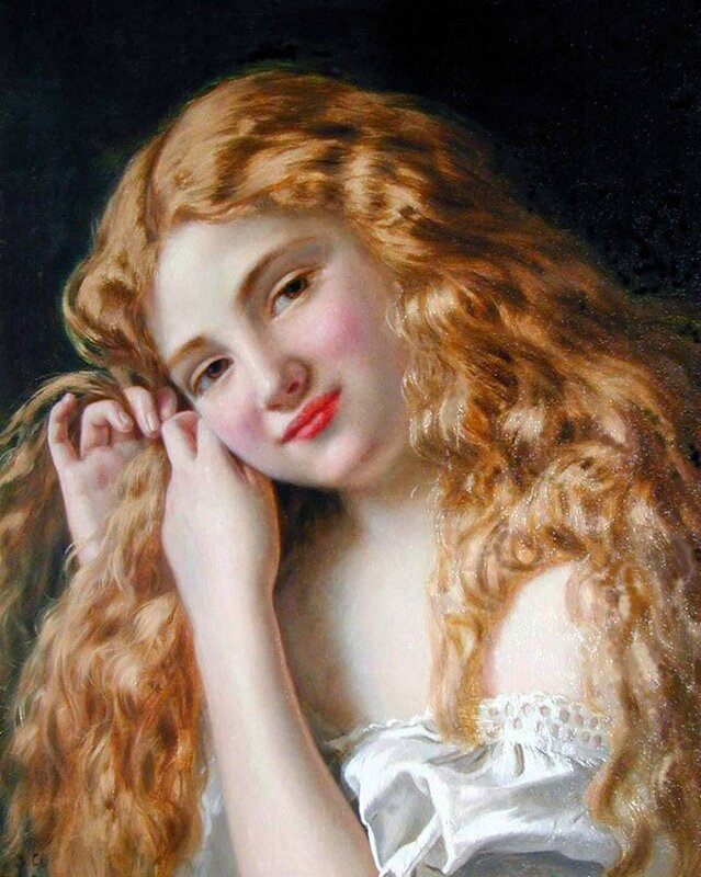 Young Girl Fixing Her Hair - Sophie Gengembre Anderson