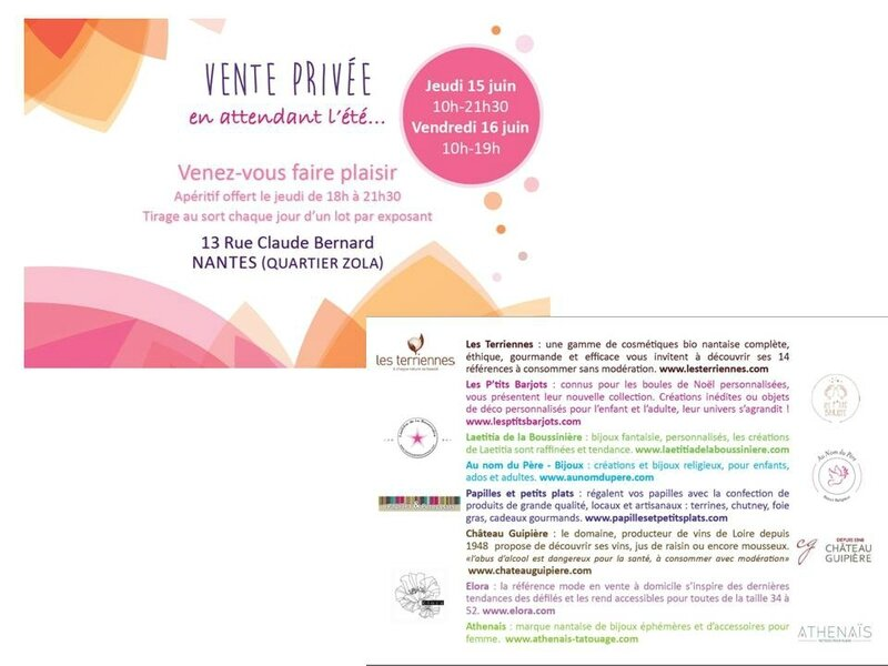 Invitation pour la vente à Nantes chez les Terriennes