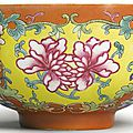 A coral-ground famille-rose bowl, Guangxu mark and period