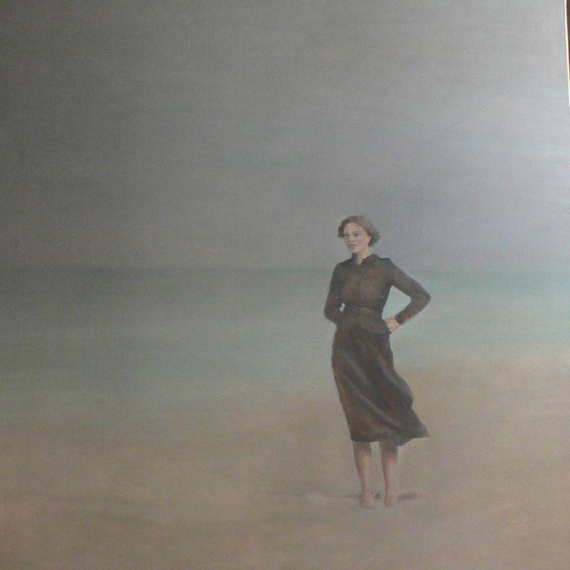 Femme sur la plage 100 X100 cm