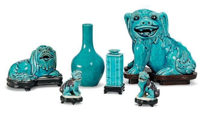 A group of six Chinese turquoise ceramics, Kangxi period (1662-1722)