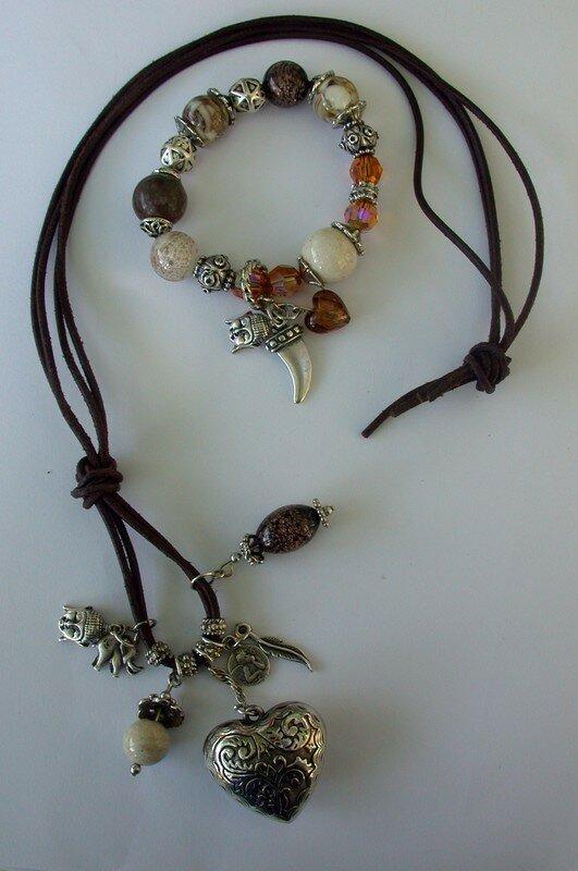 cordon cuir et bra gas (swaro, pierres naturelles, métal)