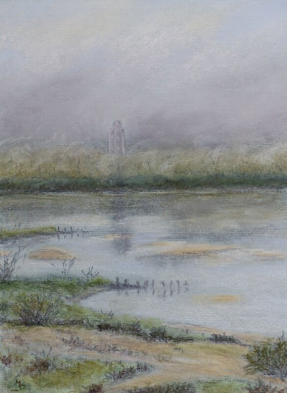 0177 Loire, brume matinale ingres 30x40 2014