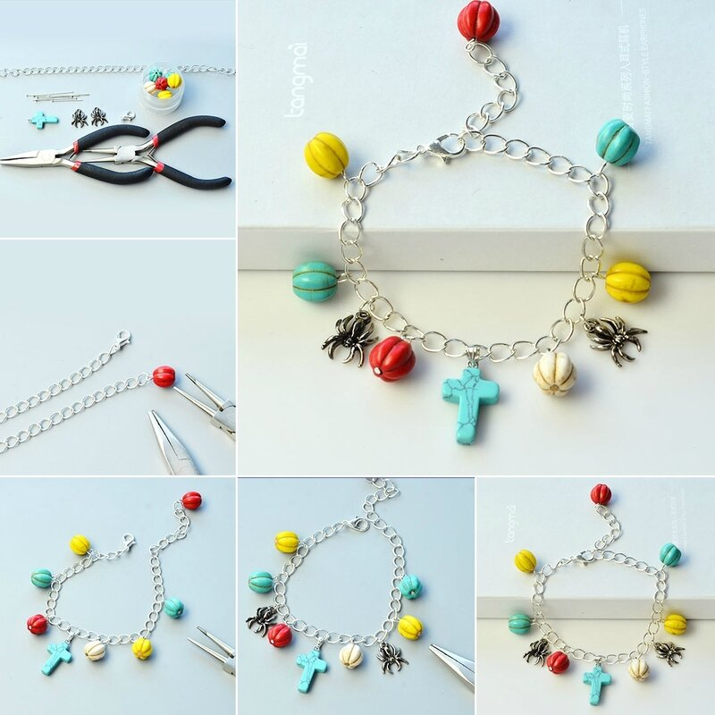 PandaHall-DIY-Idea-on-Pumpkin-Turquoise-Beads-Charm-Bracelet-with-Spider-Pendants