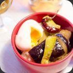 Donburi de courgettes et aubergines