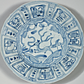 A group of four blue and white 'kraak porselein' dishes, chongzhen period, circa 1643