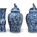 A massive blue and white five piece garniture, Kangxi period (1662-1722)