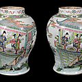 A rare large pair of Chinese Famille Rose vases, Yongzheng period (1723-1735)
