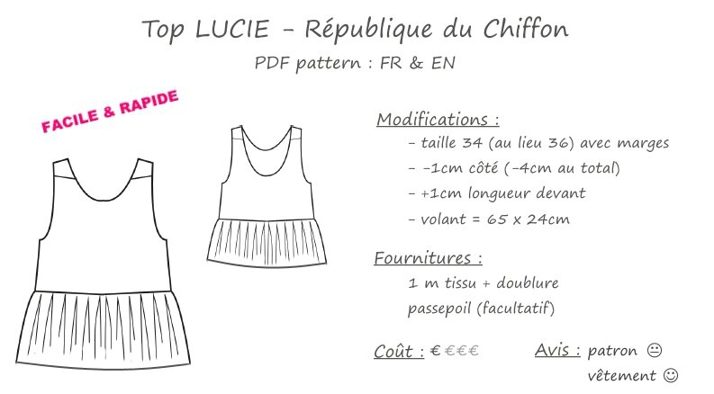 fiche technique - RDC - top Lucie