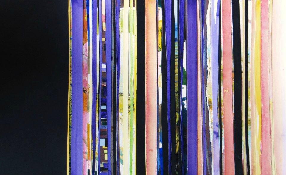 Forêt #31, 2011, acrylique, collage et coulures sur papier, 45 x 32 cm