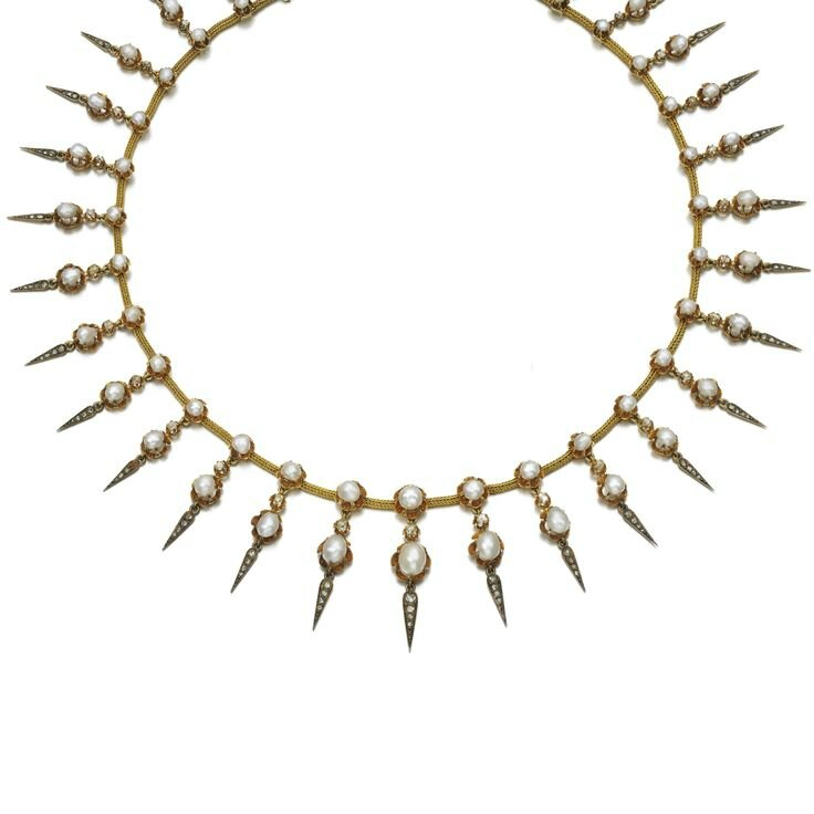 Natural pearl and diamond necklace, late 19th century