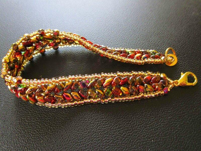 bracelets super duos vitrail et or