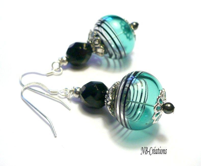 Super Perle au filée chalumeau bleu strié noir cristal swarovski argent  GW13