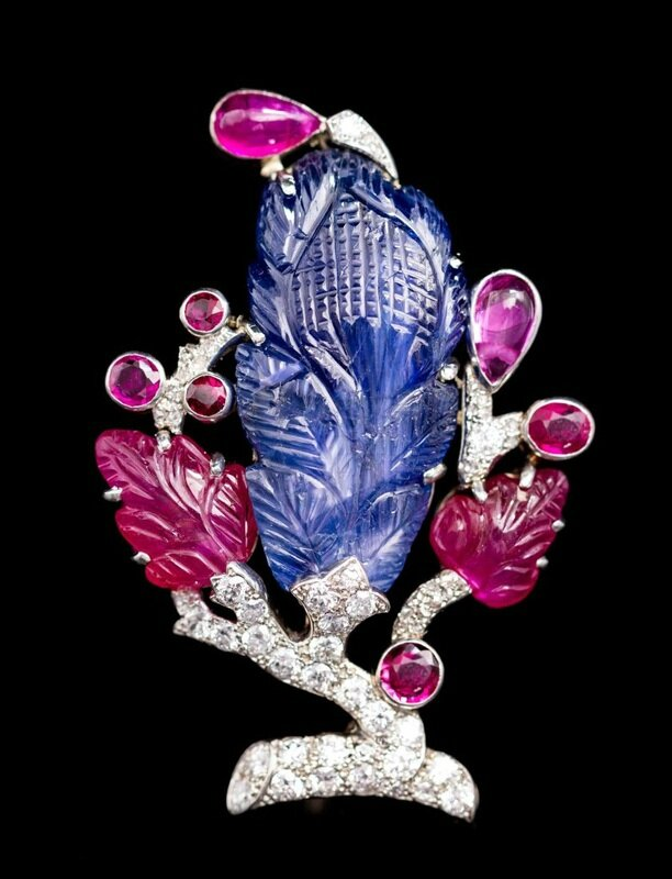 A Platinum, Gold, Ruby, Sapphire and Diamond Tutti-Frutti Brooch, Cartier