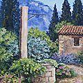 Le jardin du peintre au printemps Format 30x60 prix 340€
