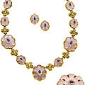 Rose quartz, ruby, diamond, gold jewelry suite