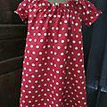 Robe ALBANE en lin rouge à pois couleur lin (8)