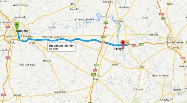 Trajet Amiens Falvy