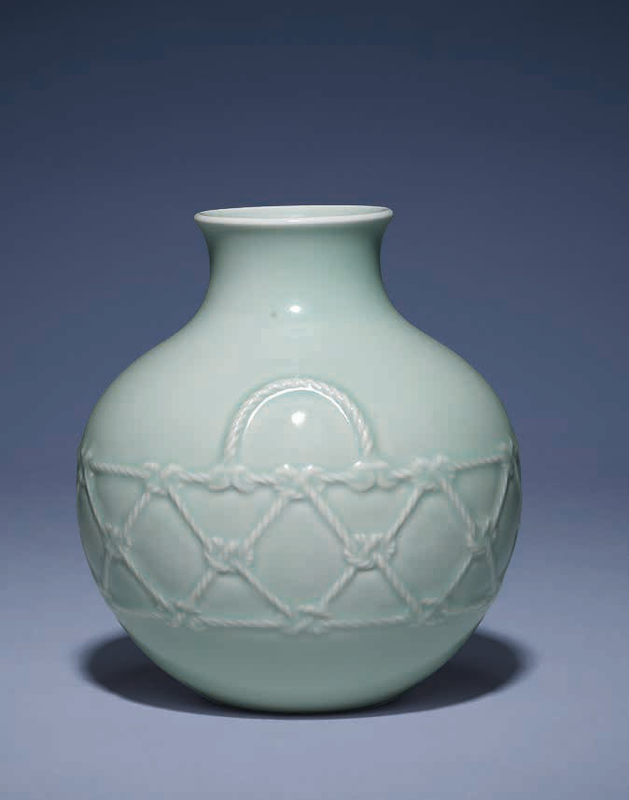 A fine and rare celadon-glazed moulded 'rope twist' globular vase, Yongzheng six-character seal mark and of the period