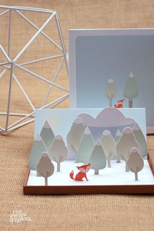 Carte 3D papercut Renard 017