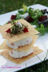 millefeuille_surimi_cheesecake_salade_vinaigrette_rhubarbe