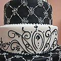 Wedding cakes baroques en noir & blanc