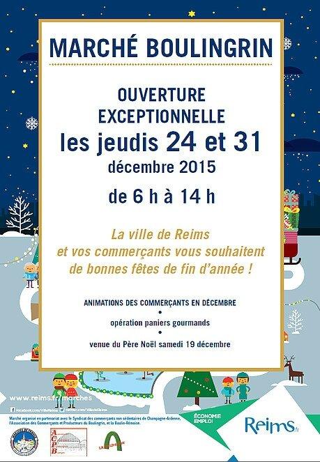 Les halles Boulingrin ouvertes les 24 et 31 décembre